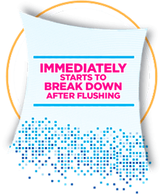 Cottonelle flushable wipes break down immediately after being flushed