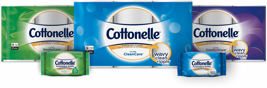 Cottonelle toilet paper and flushable wipes products hero image.