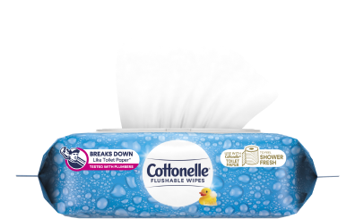 Cottonelle Flushable Wipes Soft Pack image.