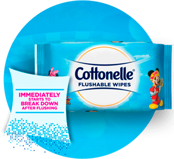 Cottonelle® Disney Flushable Wipes Product Hero Image