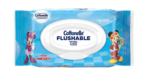Cottonelle® Flushable Wipes with Disney characters.