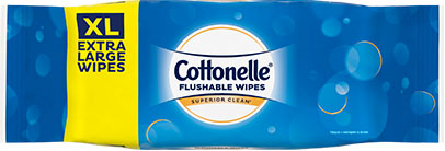Cottonelle Extra Large Flushable Wipes now available.